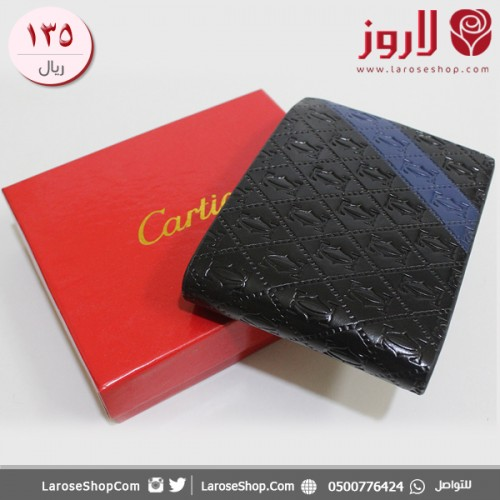 محفظة كارتير Cartier اسود وازرق